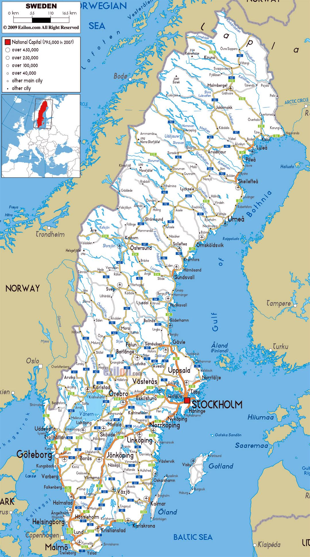 Large road map of Sweden with cities and airports