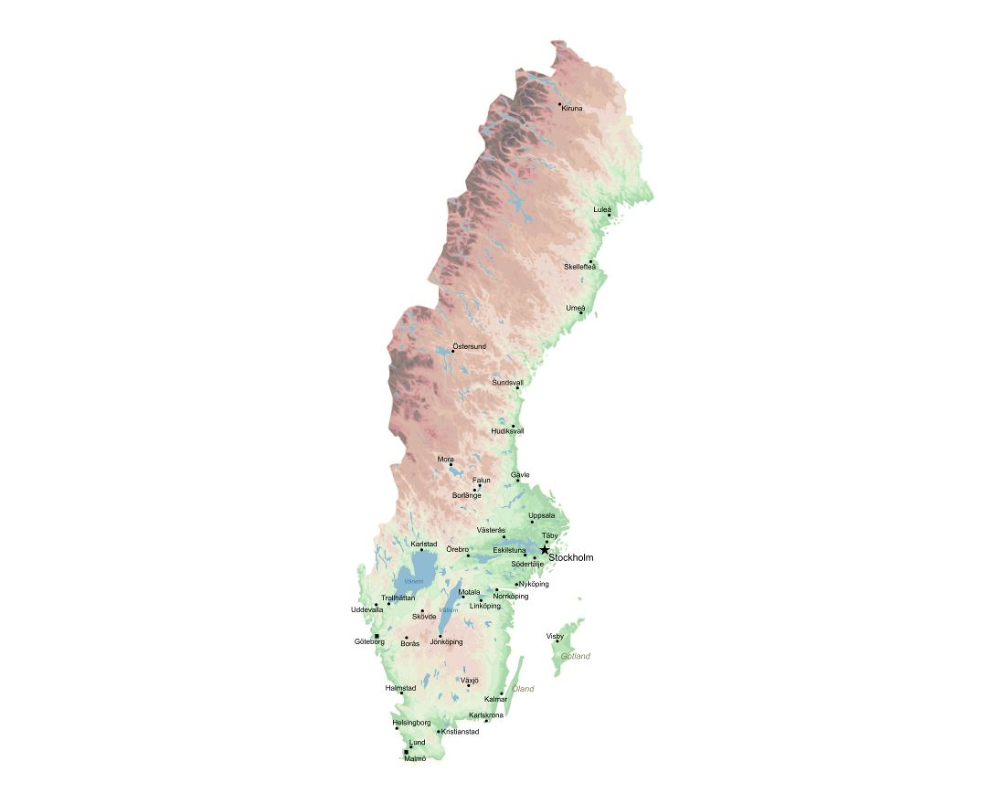 Large scale elevation map of Sweden with major cities