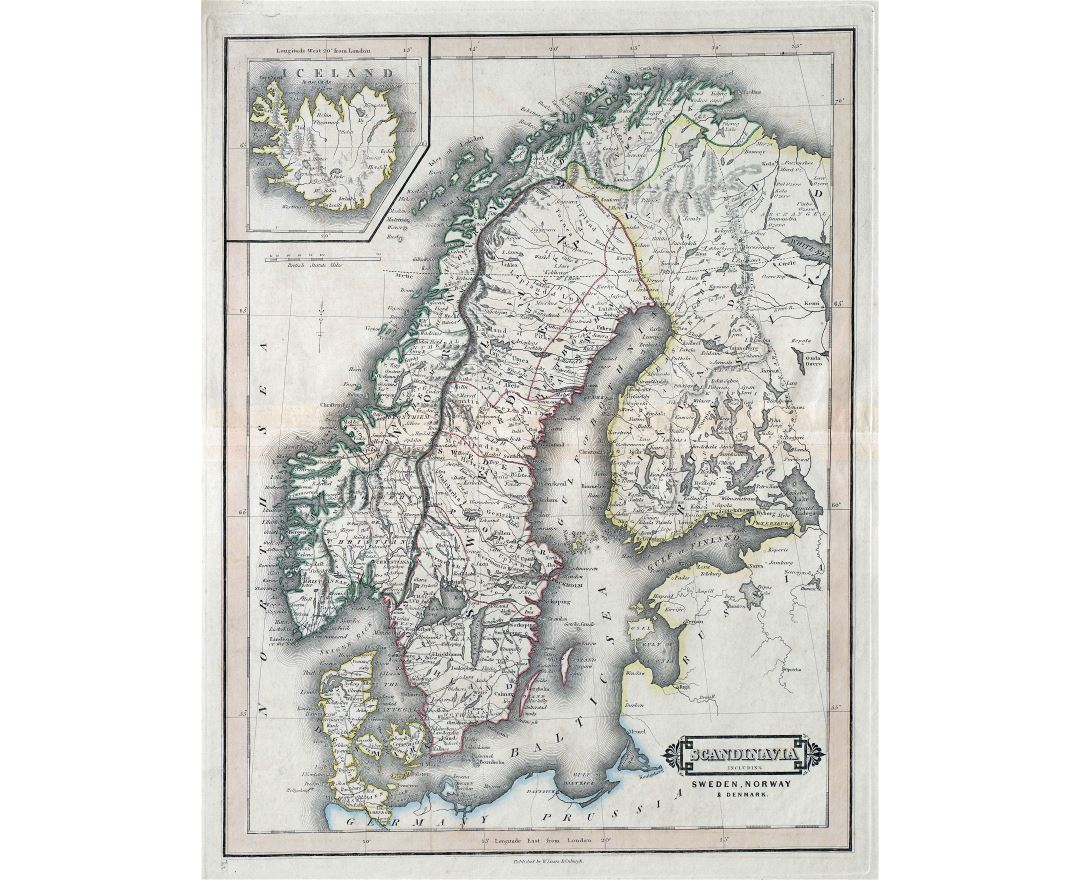 Large scale old political map of Sweden, Norway and Denmark with roads and cities