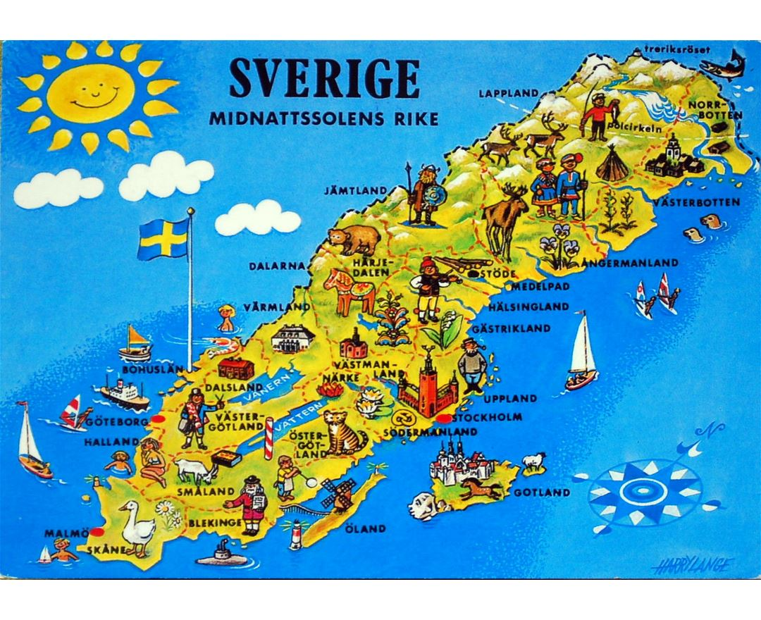 Large tourist illustrated map of Sweden