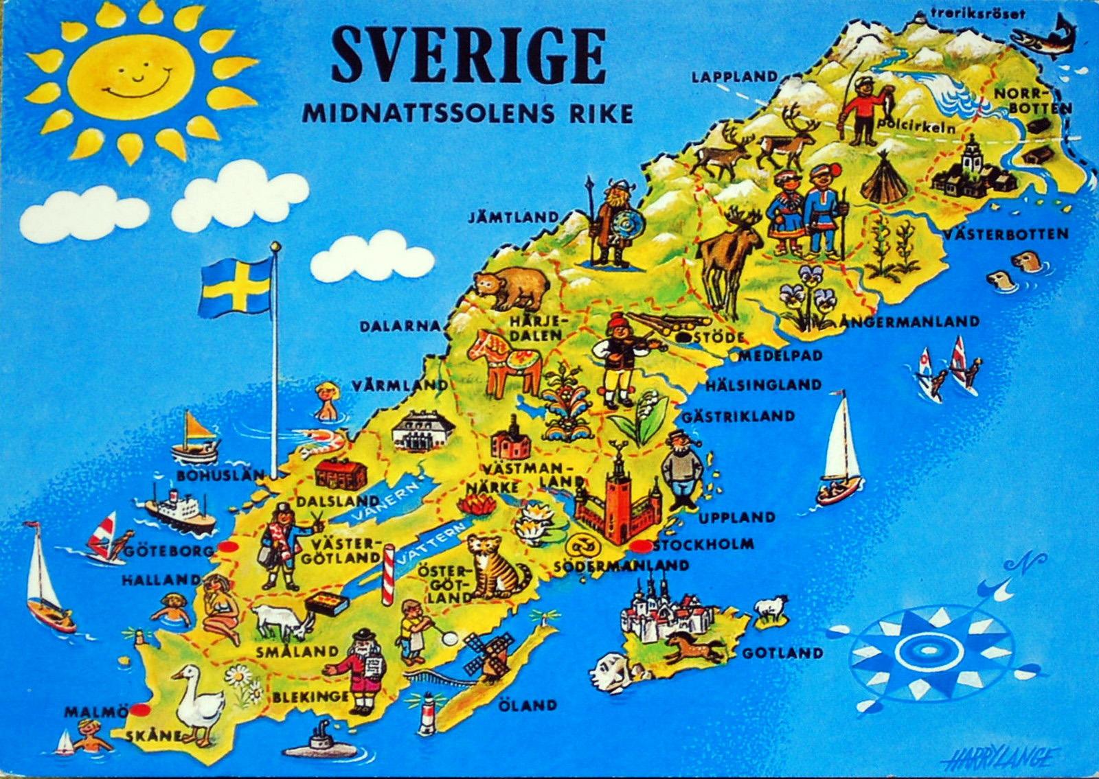 Large Tourist Illustrated Map Of Sweden Sweden Europe Mapsland