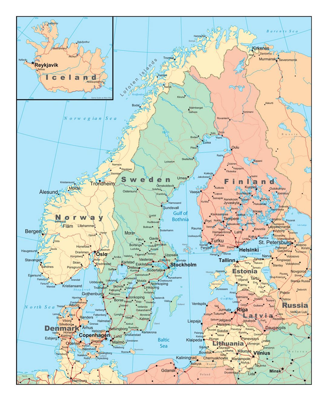 Political map of Scandinavia with roads and cities | Sweden | Europe ...