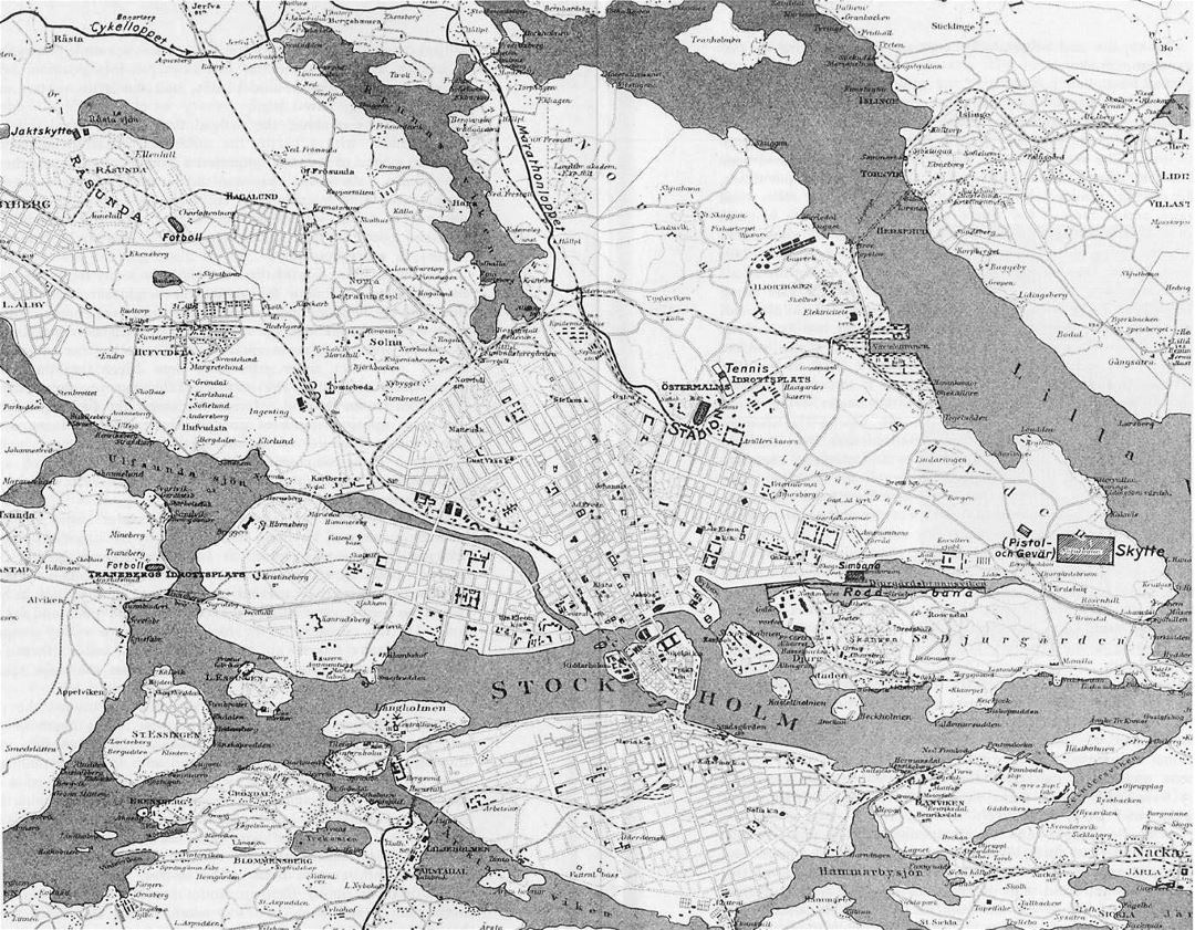 Detailed old map of Stockholm city - 1912