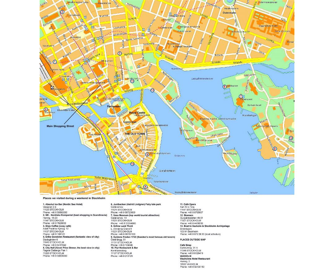 Detailed tourist map of Stockholm city center