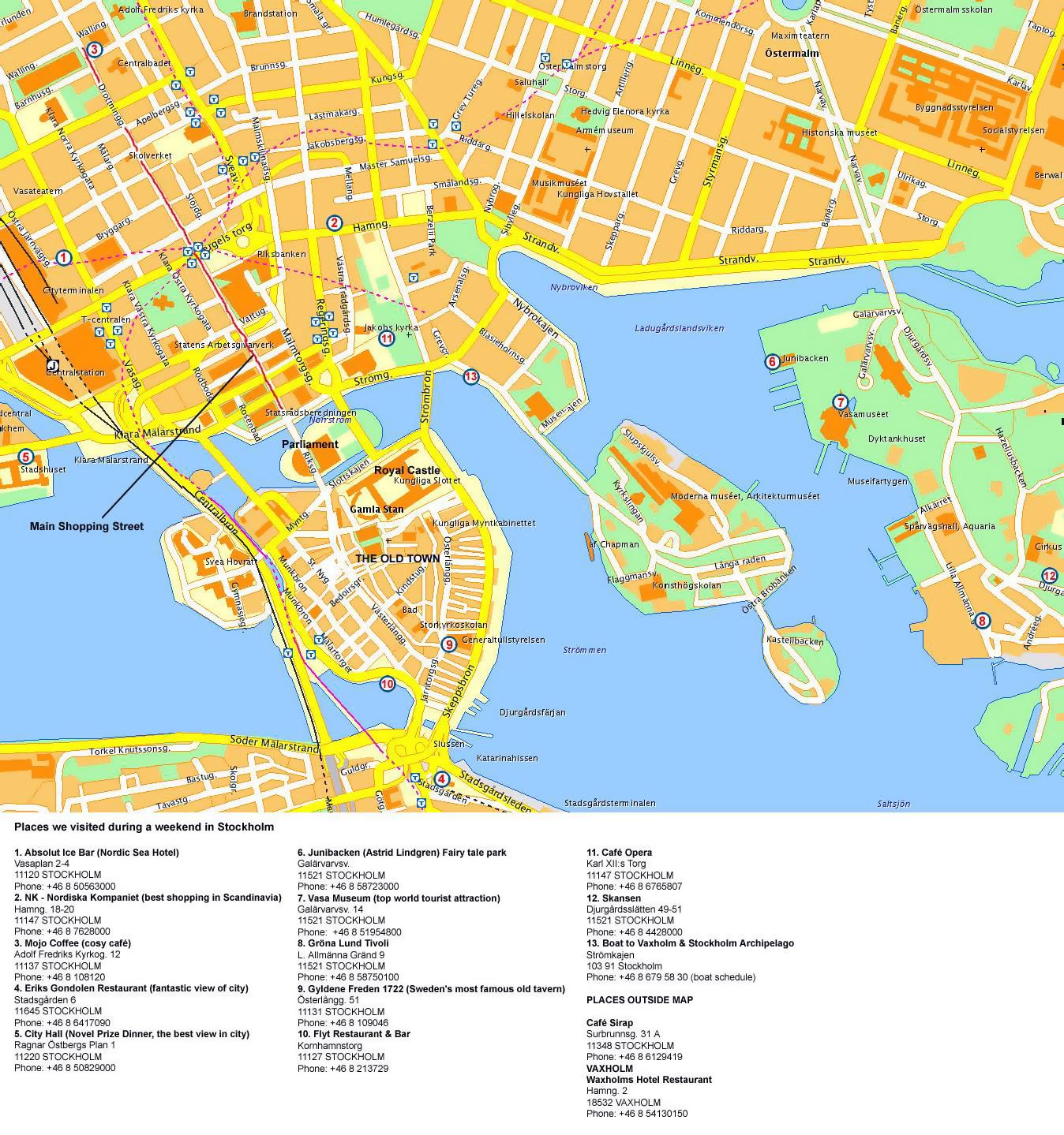 Detailed tourist map of Stockholm city center Stockholm Sweden