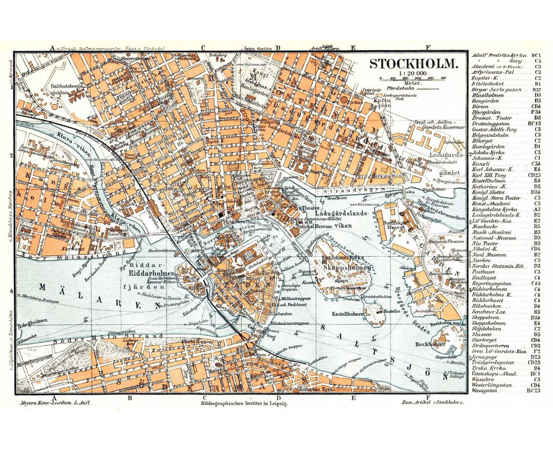 Large detailed old map of Stockholm city center
