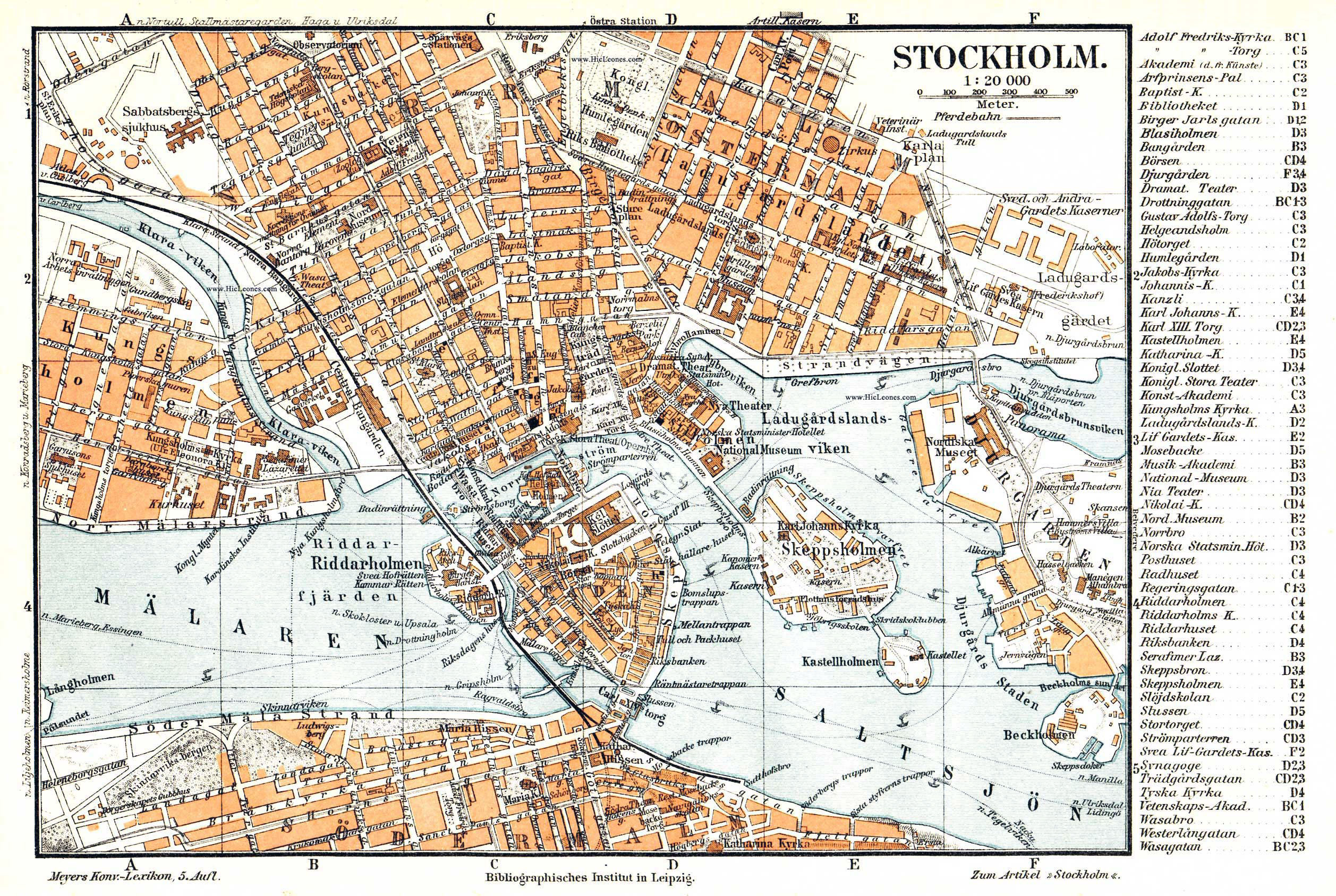 Large detailed old map of Stockholm city center Stockholm Sweden