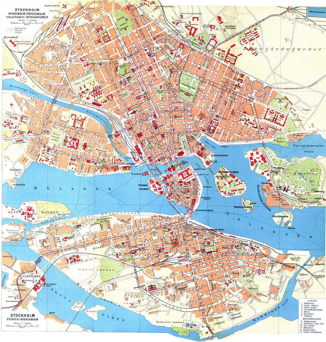 Large detailed old map of Stockholm city