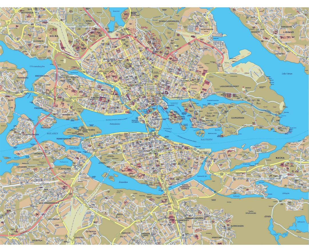 Large detailed road map of Stockholm city with buildings