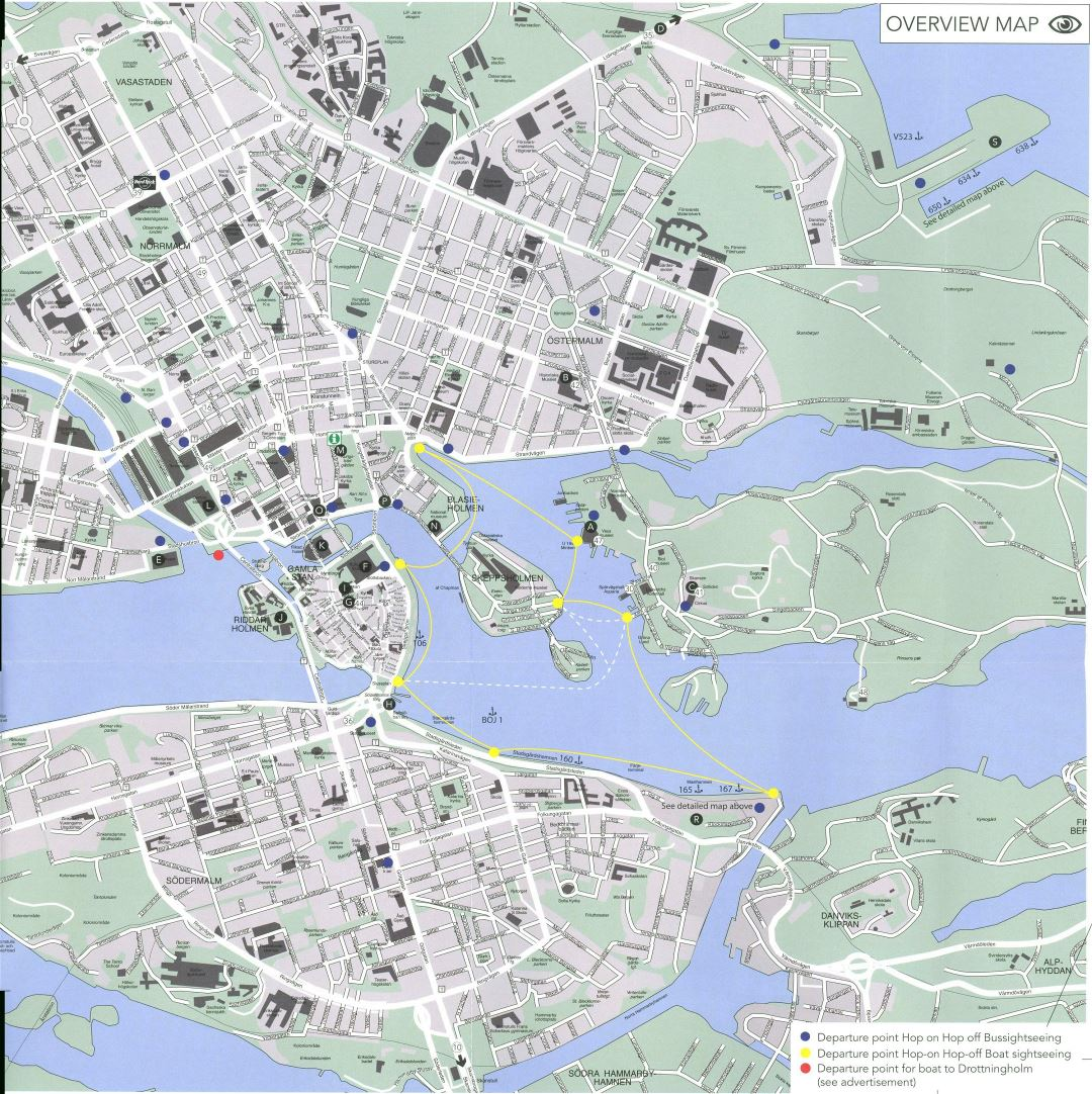 Large road and tourist map of Stockholm city center with buildings