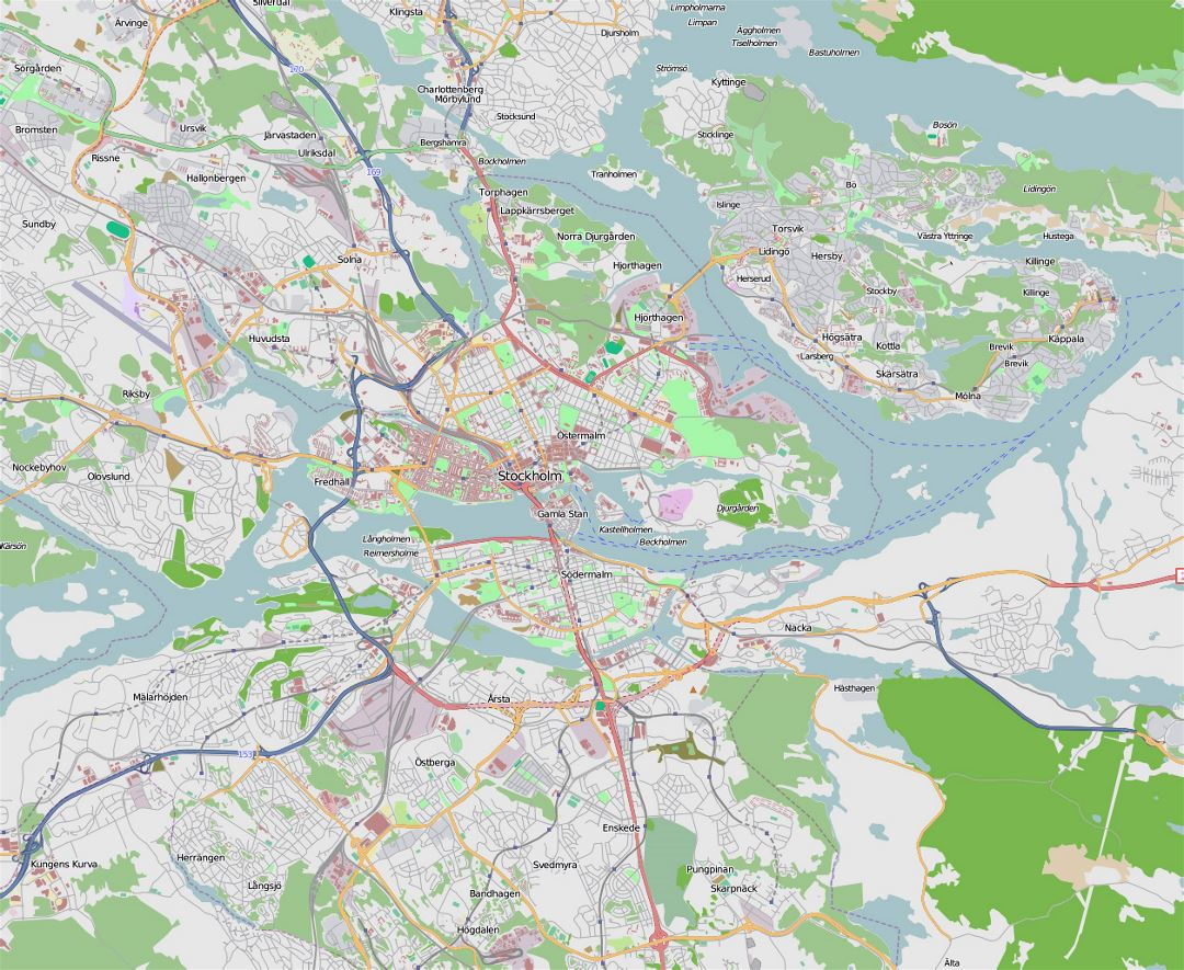 Large transit map of Stockholm city