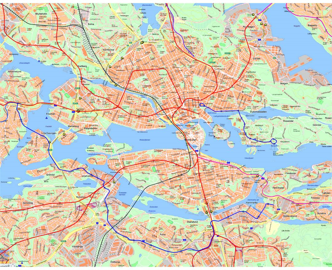 Road map of Stockholm city