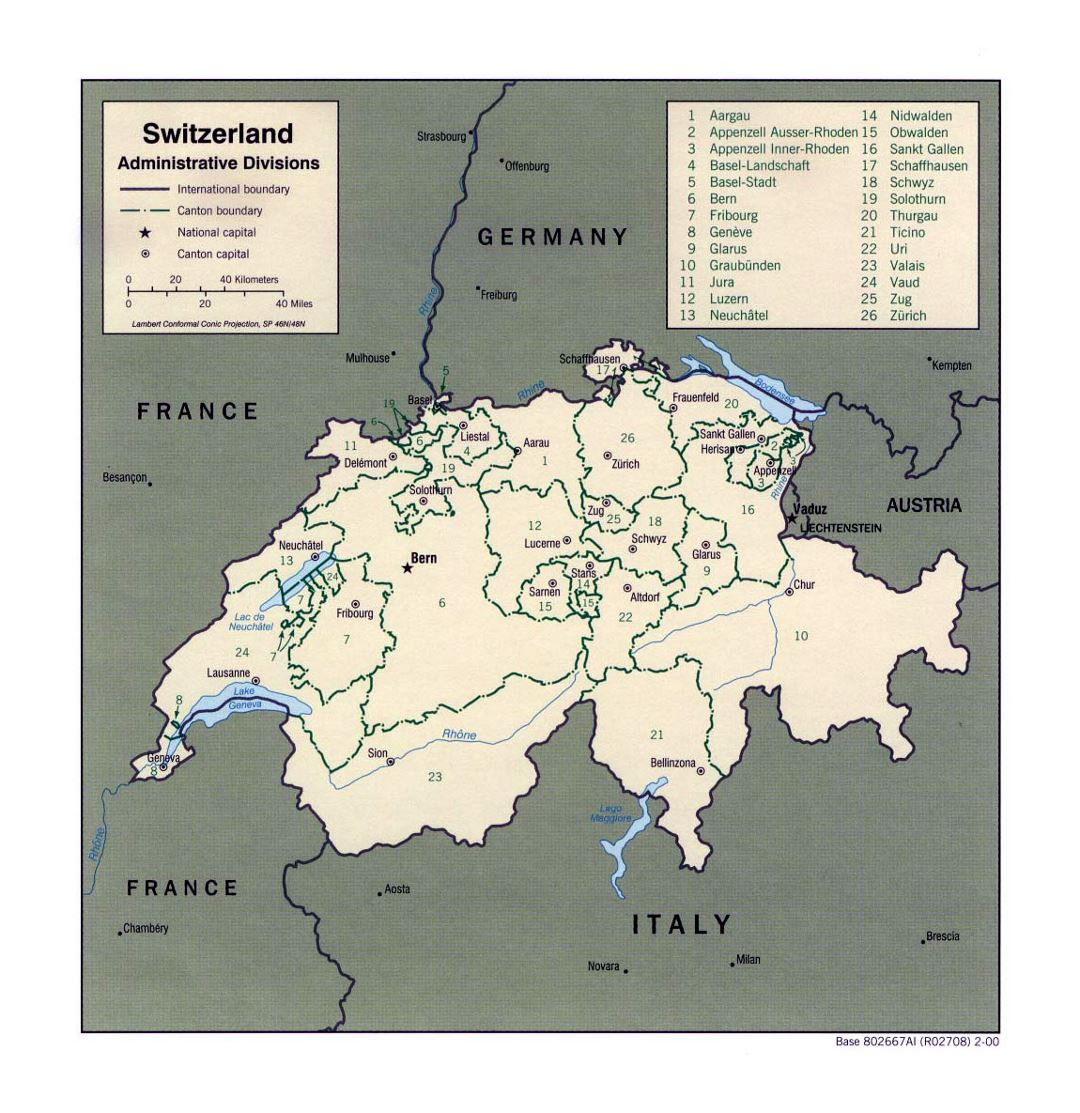 Detailed administrative divisions map of Switzerland