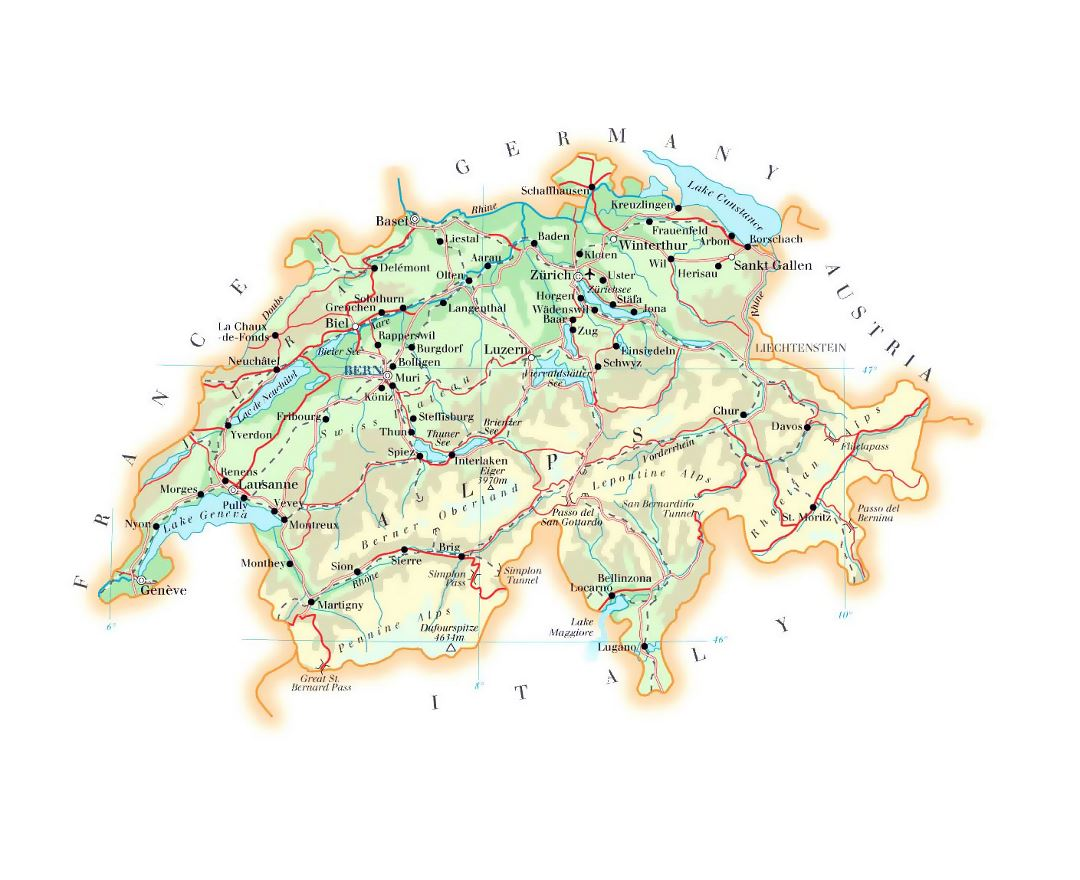 Detailed elevation map of Switzerland with roads, cities and airports