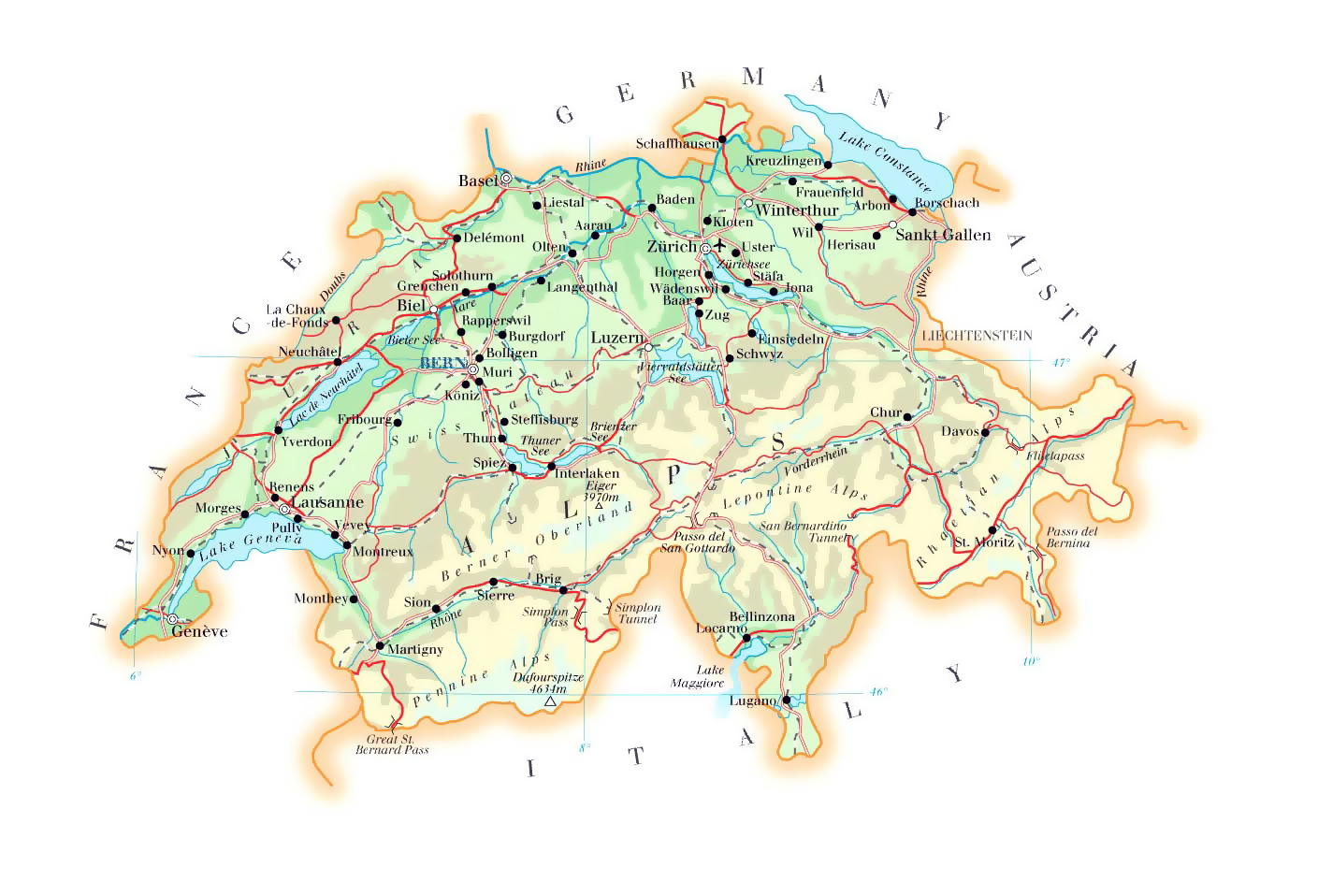 Switzerland Elevation Map.Detailed Elevation Map Of Switzerland With Roads Cities And