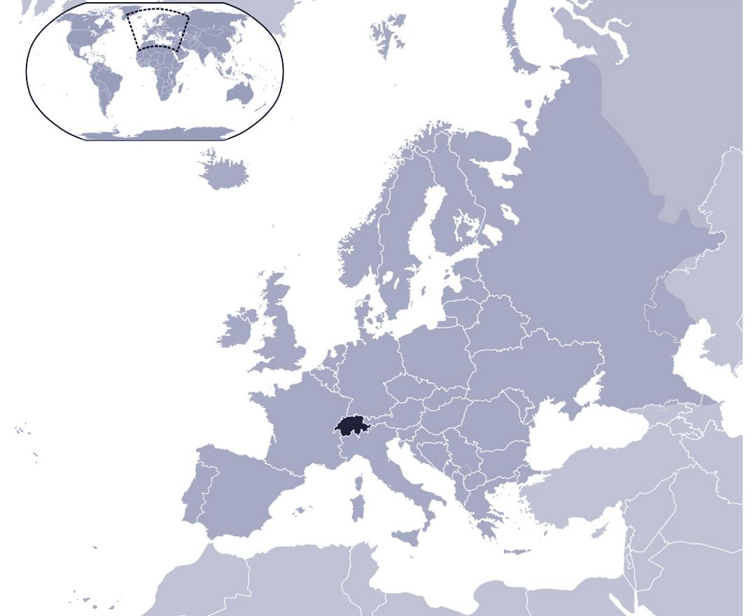 Detailed location map of Switzerland on map of Europe