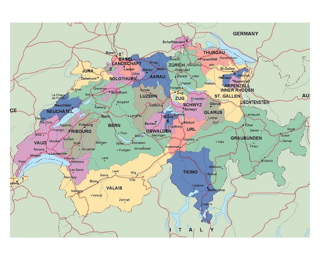 Detailed political and administrative map of Switzerland with roads and major cities