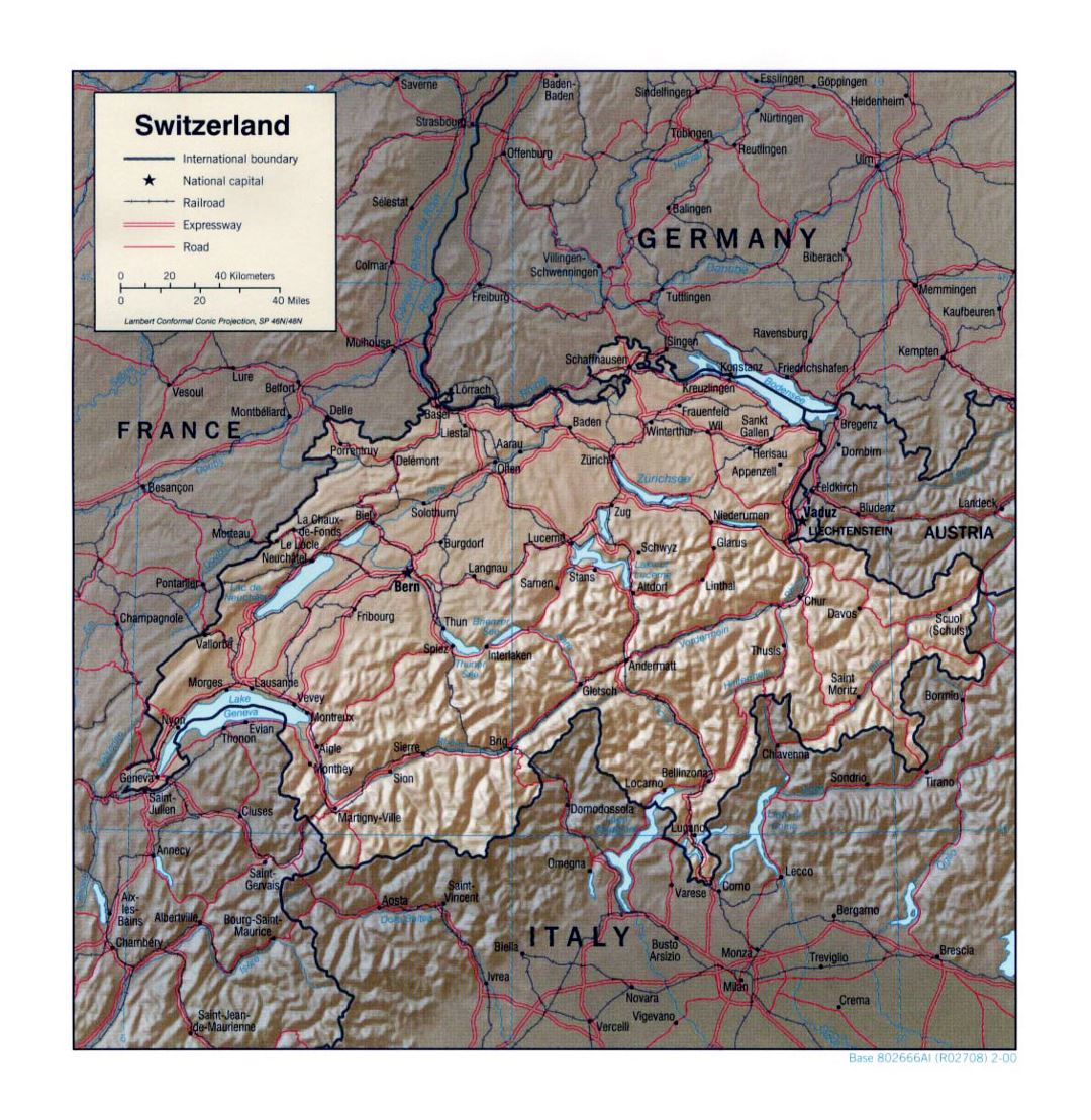 Detailed political map of Switzerland with relief, roads, railroads and major cities - 2000