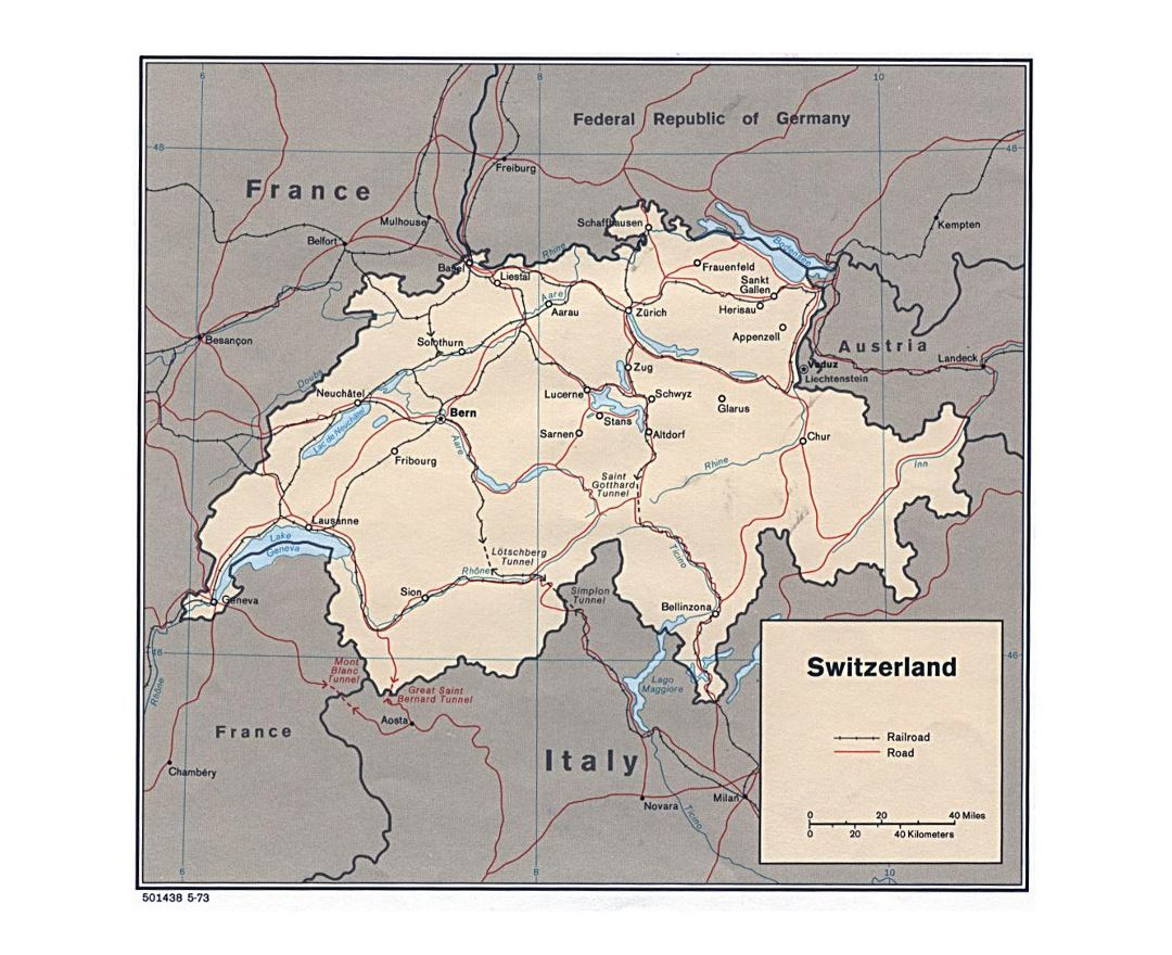 Detailed political map of Switzerland with roads, railroads and major cities - 1973
