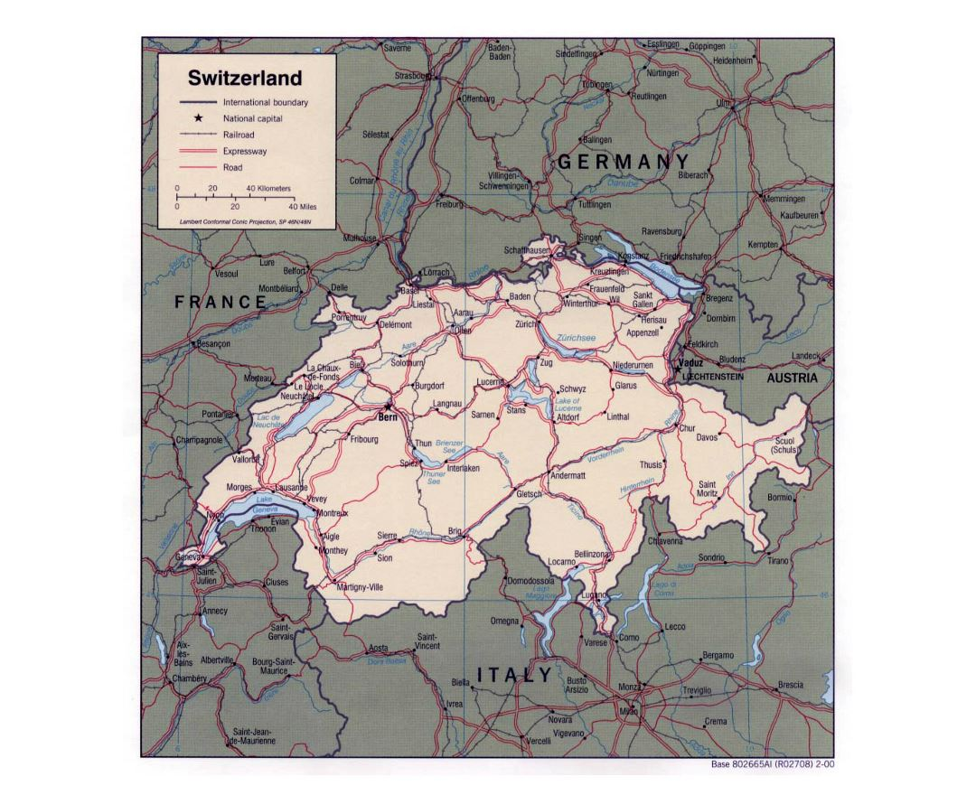 Detailed political map of Switzerland with roads, railroads and major cities - 2000
