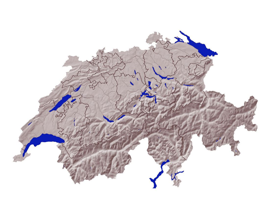Detailed relief map of Switzerland