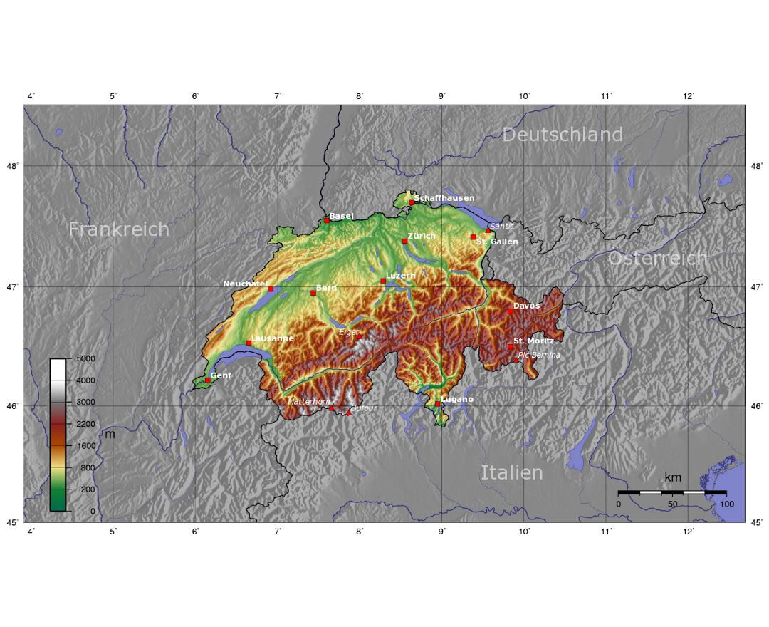 Detailed topographical map of Switzerland