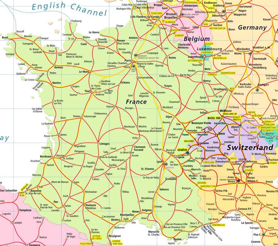 Highways Map Of France And Switzerland Switzerland Europe