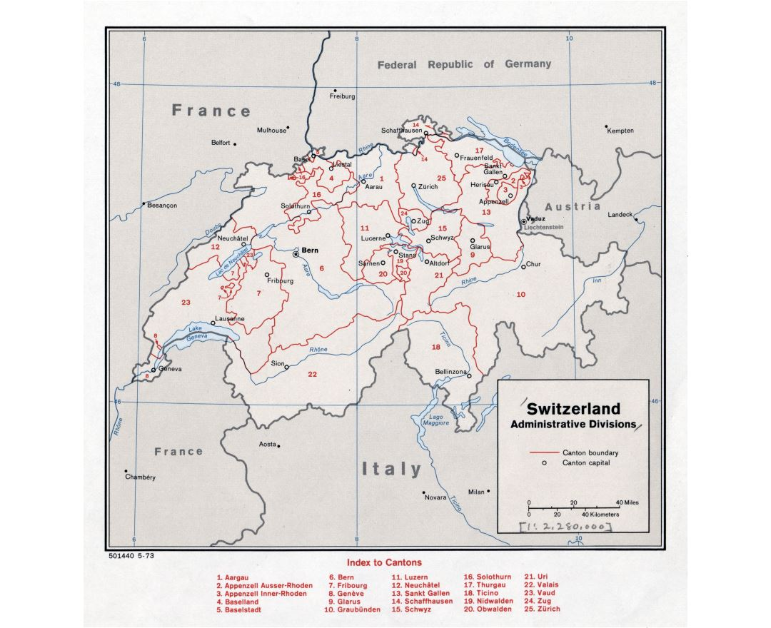 Large detailed administrative divisions map of Switzerland - 1973
