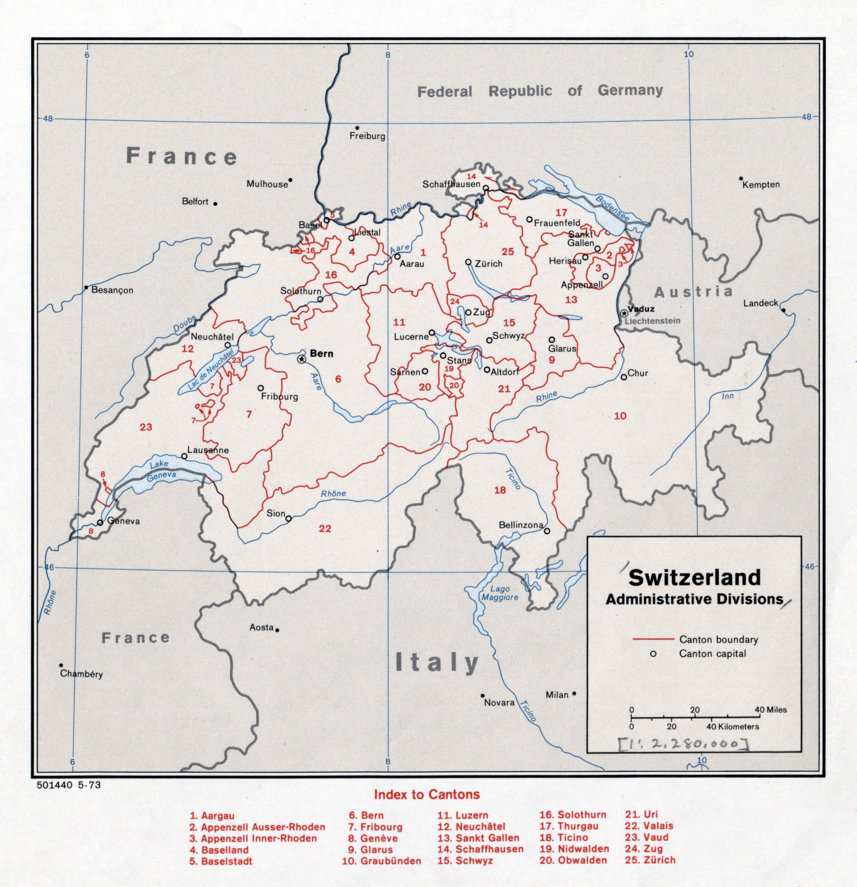 Large detailed administrative divisions map of Switzerland 1973
