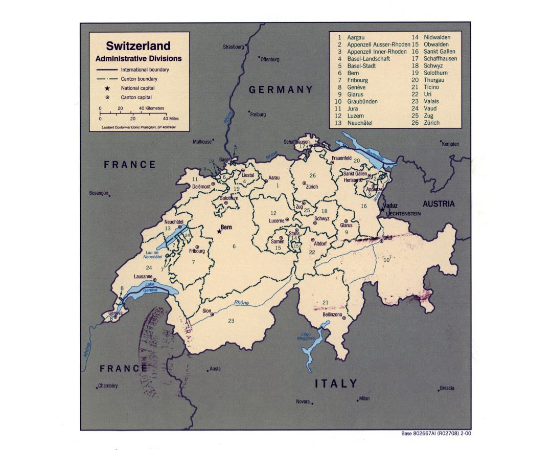Large detailed administrative divisions map of Switzerland - 2000