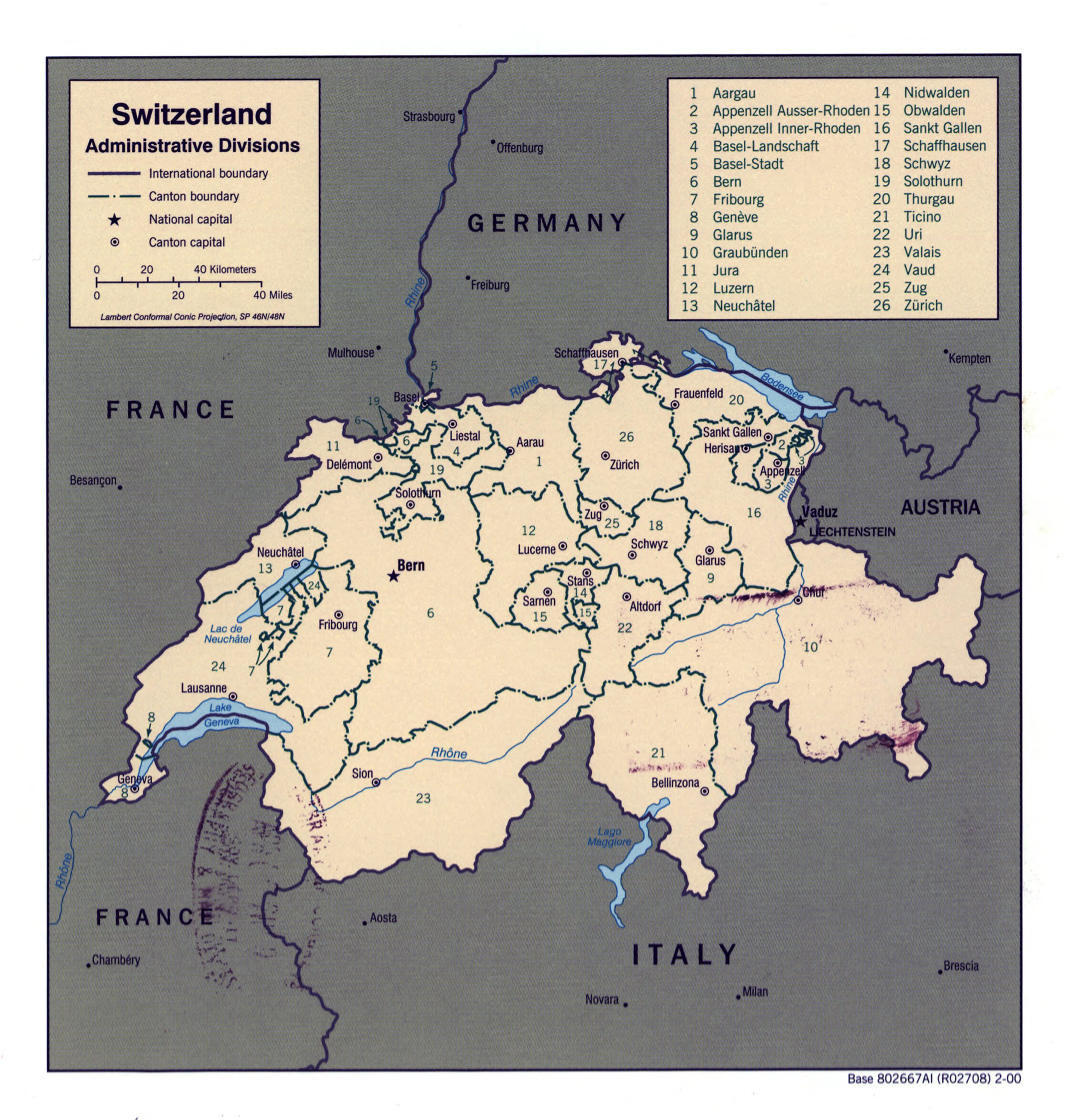 Large detailed administrative divisions map of Switzerland 2000