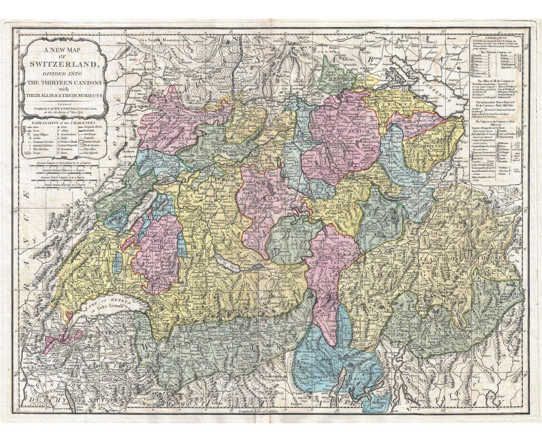 Large detailed old political and administrative map of Switzerland with relief, roads and cities
