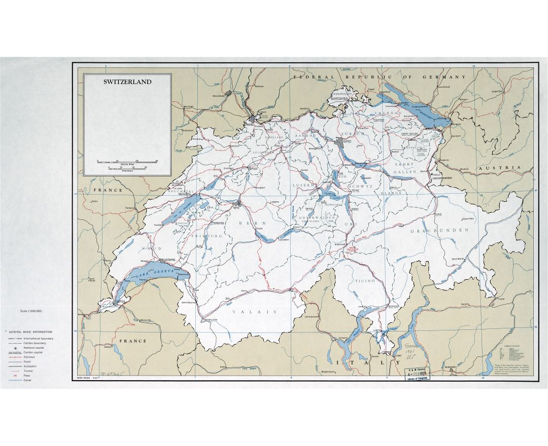 Large detailed political and administrative map of Switzerland with roads, railroads and major cities - 1961