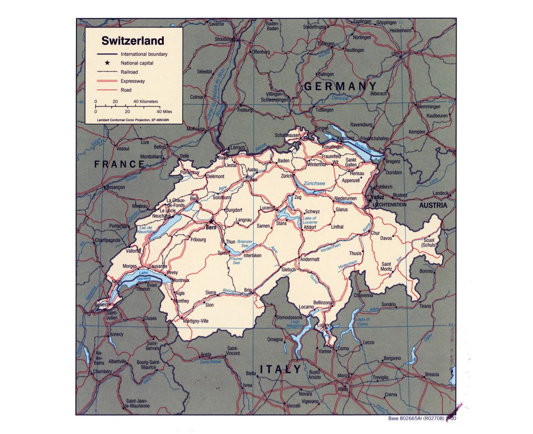 Large detailed political map of Switzerland - 2000