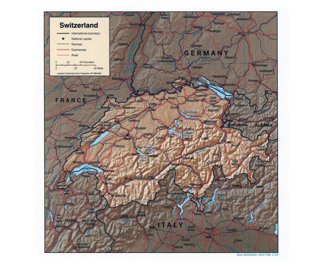 Large detailed political map of Switzerland with relief - 2000