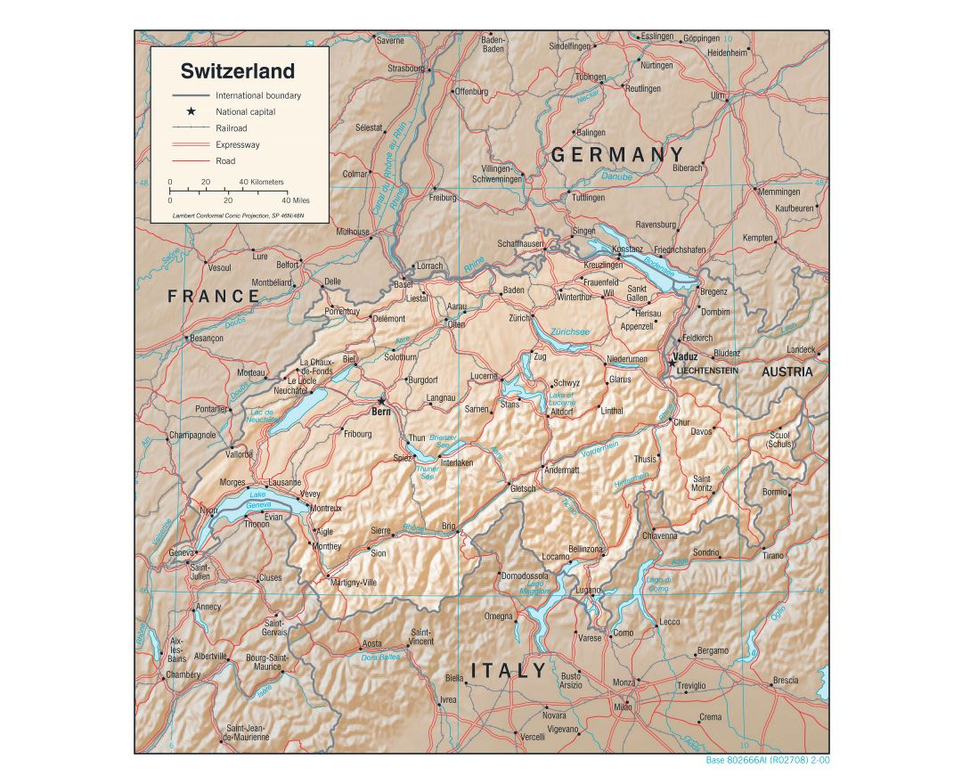 Large detailed political map of Switzerland with relief, roads, railroads and major cities - 2000