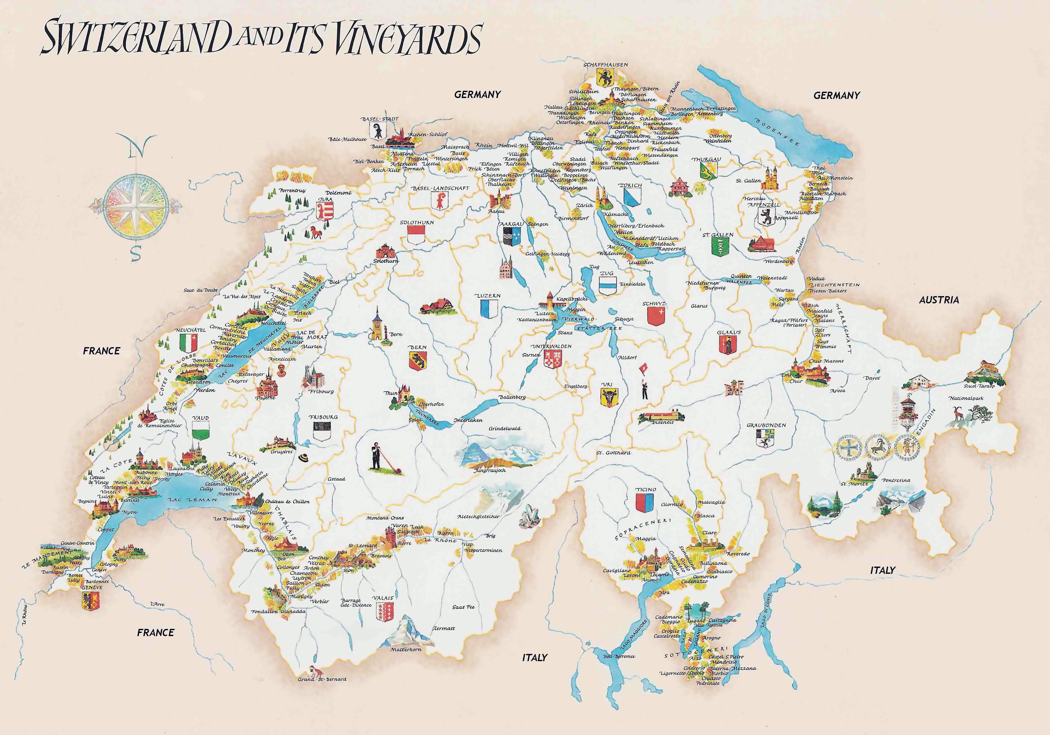 Large detailed tourist illustrated map of Switzerland Switzerland