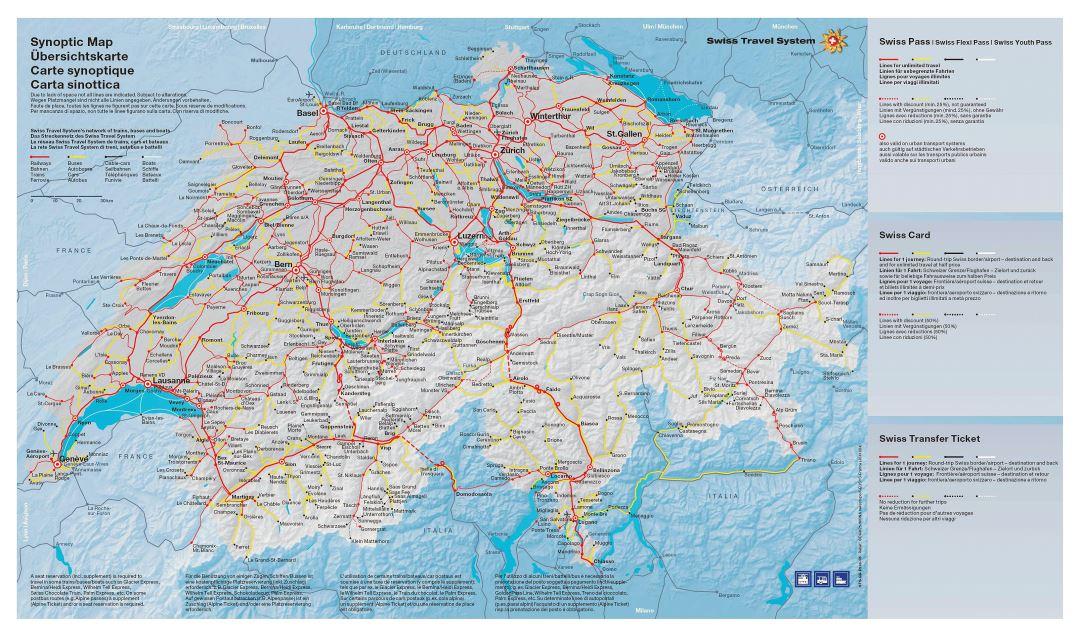 Large detailed transport map of Switzerland Switzerland Europe Mapsland