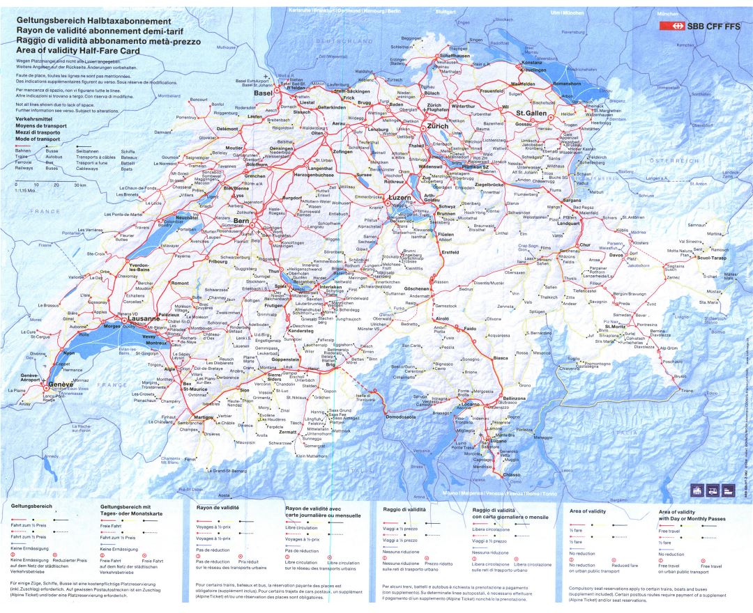 Large detailed transport map of Switzerland with relief