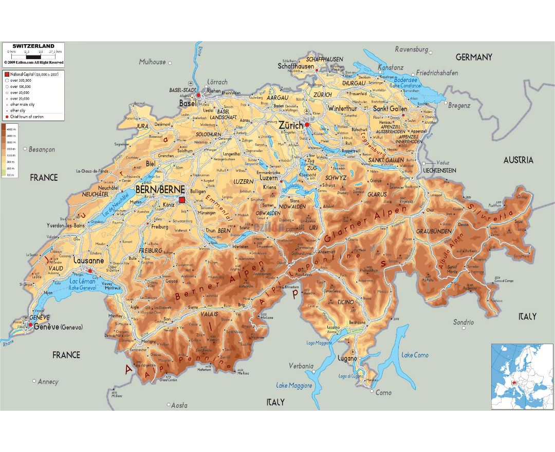Large physical map of Switzerland with roads, cities and airports