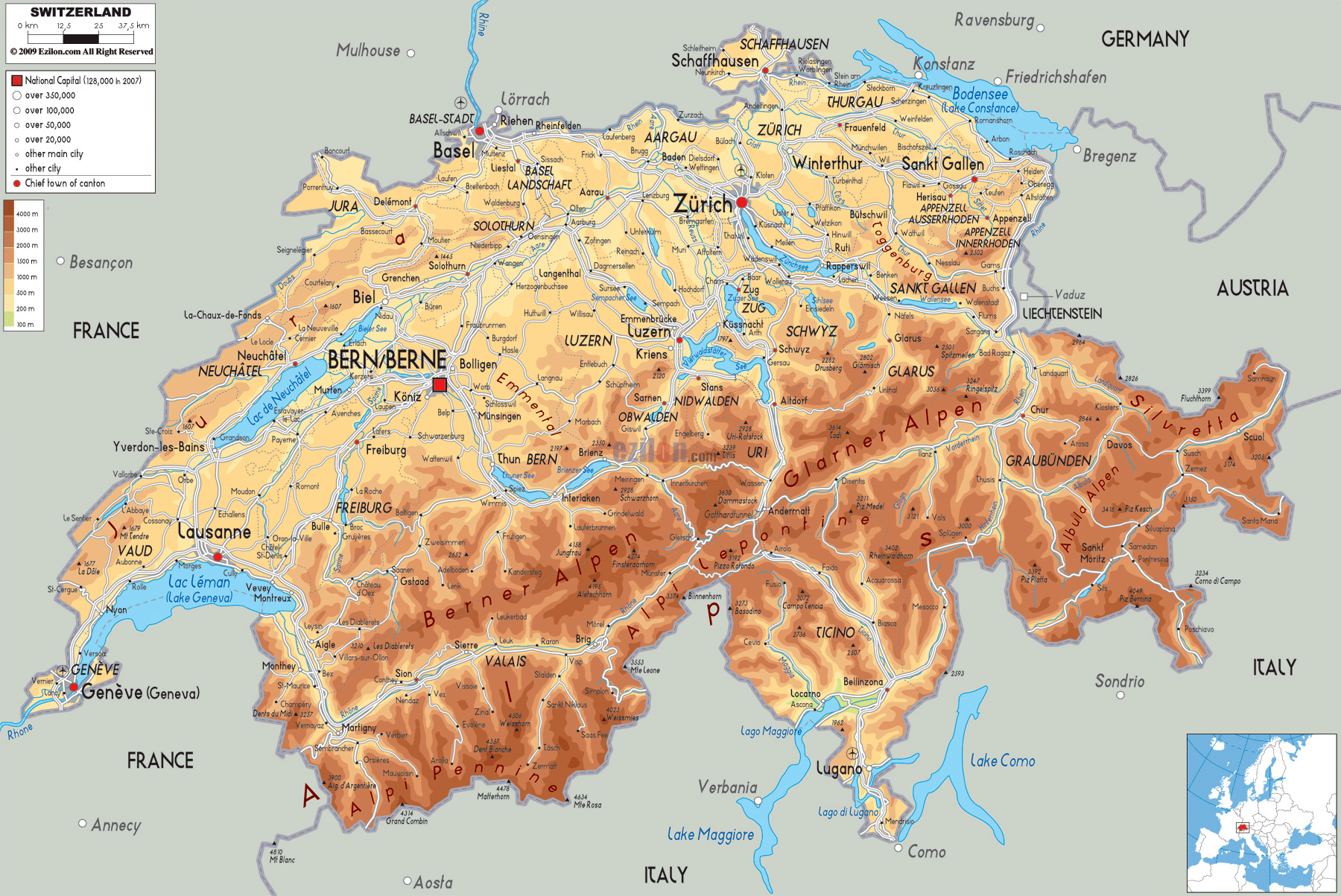 Large physical map of Switzerland with roads, cities and ...