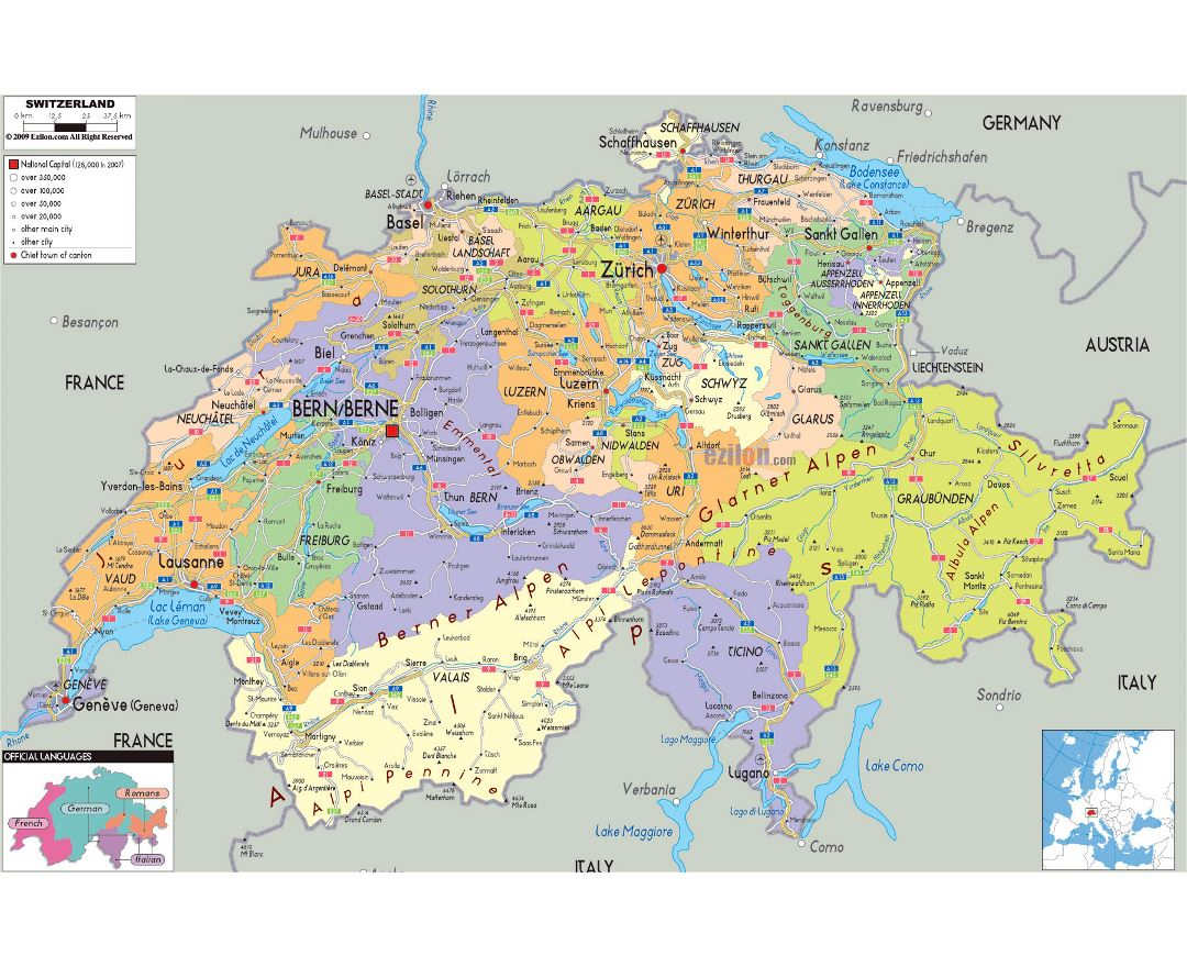 Large political and administrative map of Switzerland with roads, cities and airports