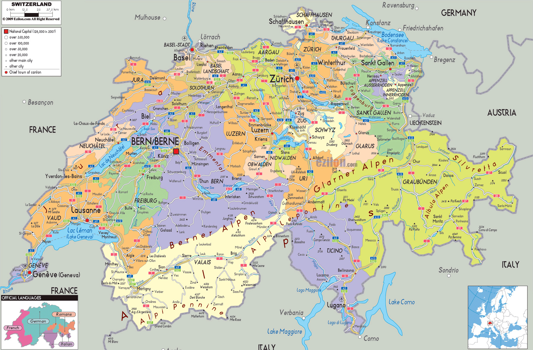 Large political and administrative map of Switzerland