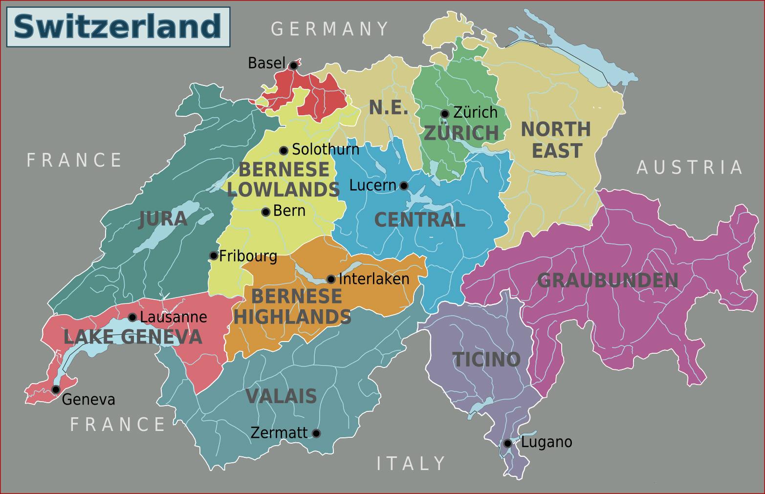 Large Regions Map Of Switzerland Switzerland Europe Mapsland