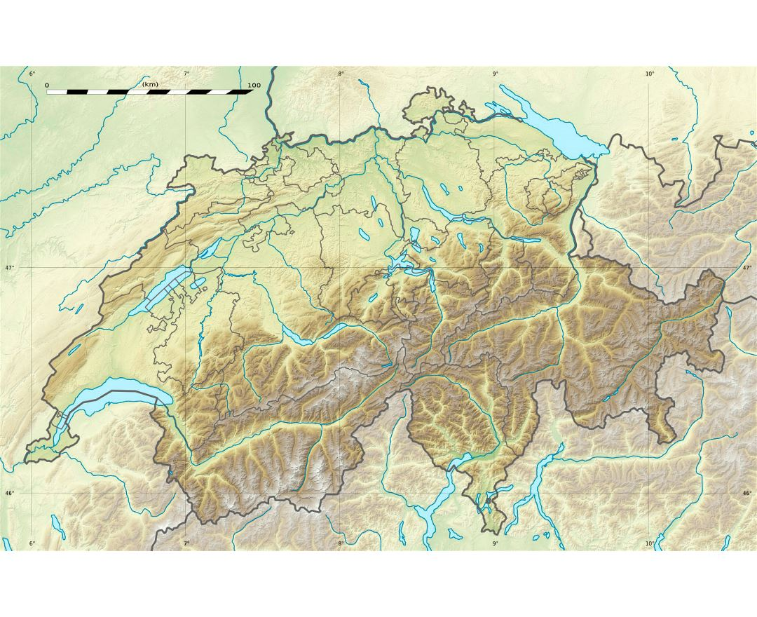 Large relief map of Switzerland