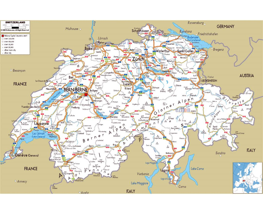 Large road map of Switzerland with cities and airports