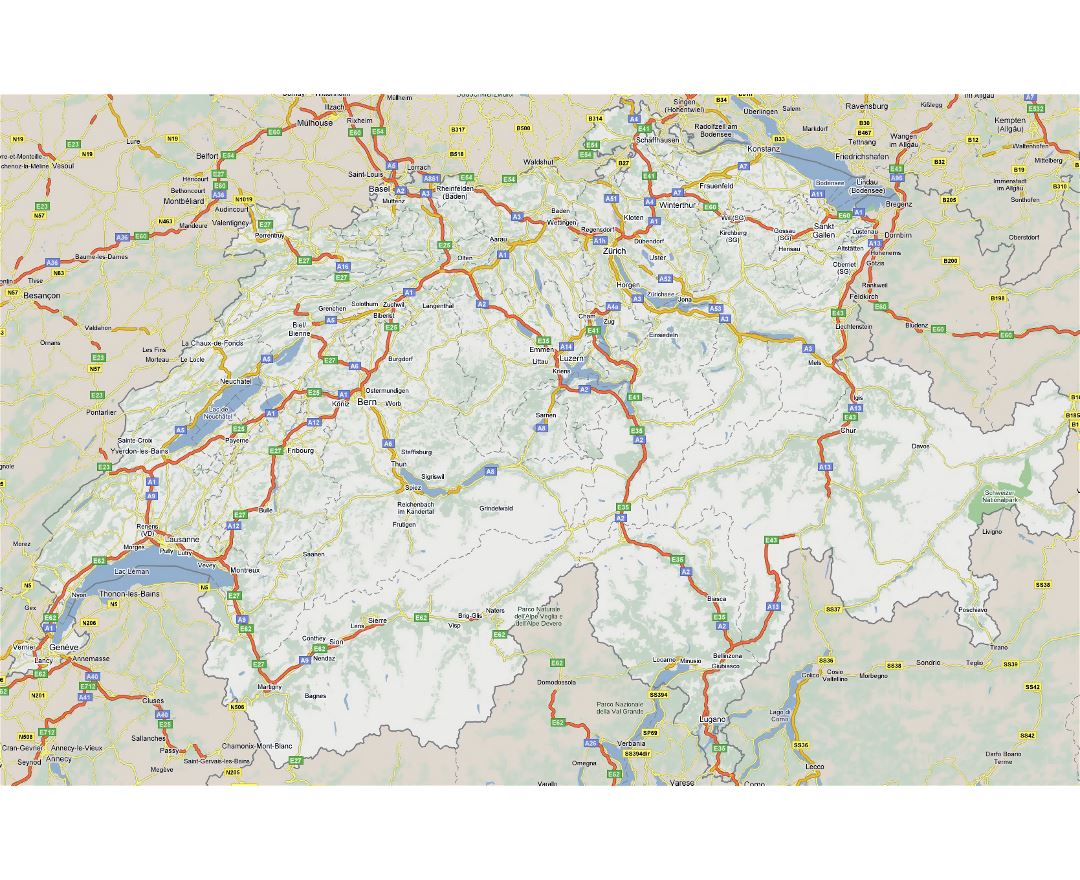 Large road map of Switzerland with cities