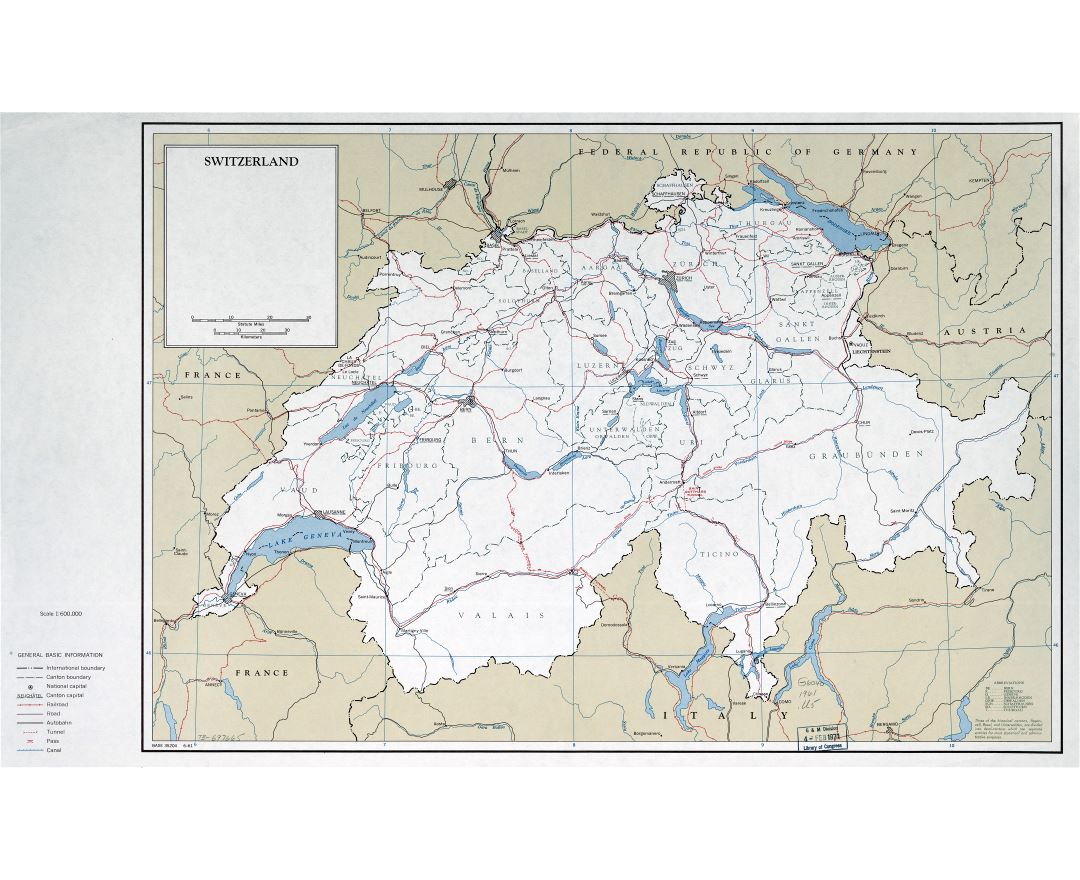 Large scale political and administrative map of Switzerland with roads railroads and major cities - 1961