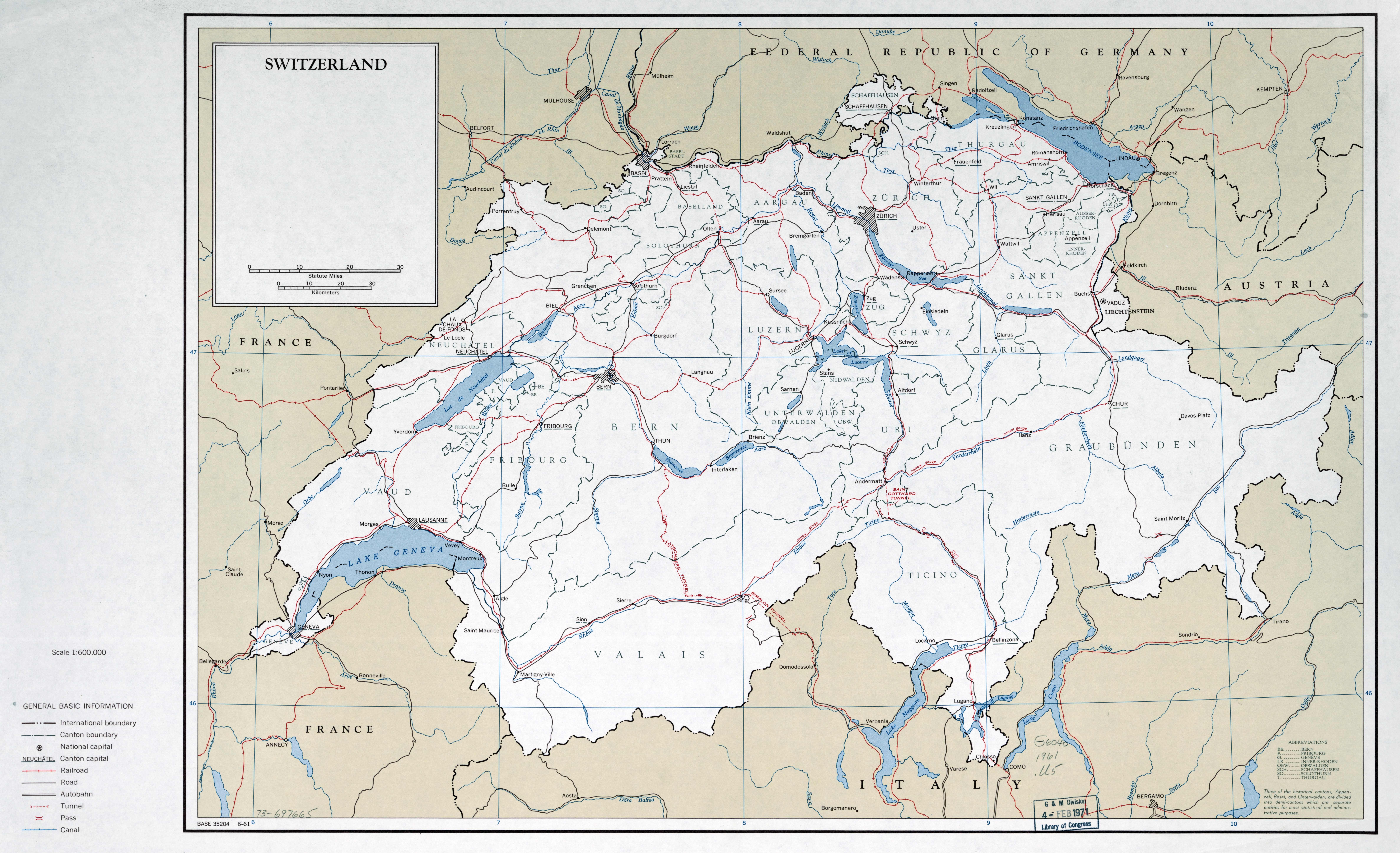 Description Large Scale Political And Administrative Map Of Switzerland With Roads Railroads And Major Cities 1961