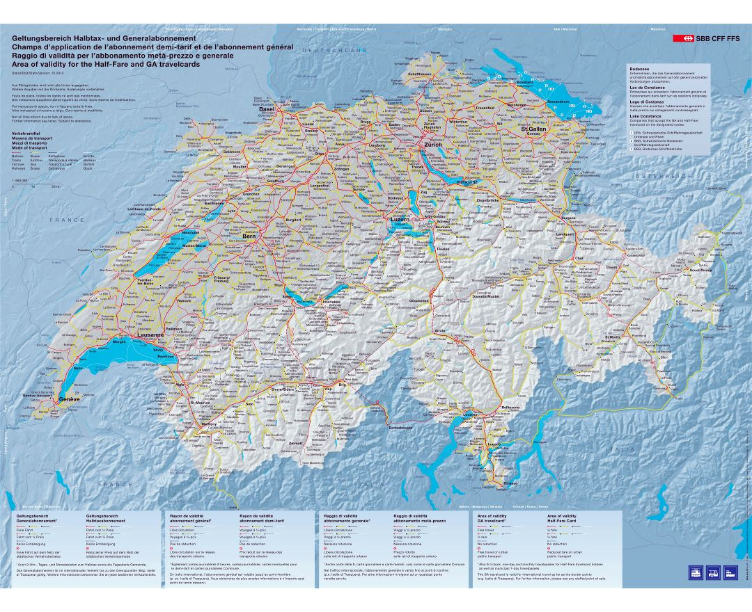 Large scale transport map of Switzerland